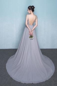 Robe de demoiselle d'honneur Norme Luxueux A-ligne Col en V Mariage