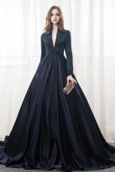 Robe de mariée Manche Longue Cathédrale Soie Col en V Foncé Corsage Avec Bijoux