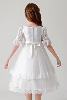 Robe de fille de fleur Printemps Petit collier circulaire A-ligne