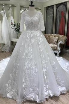 Robe de mariée Décalcomanie Manche Demi Manche Aérienne Hiver
