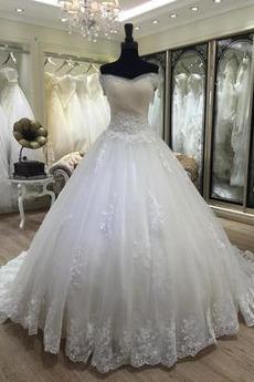Robe de mariée Traîne Longue A-ligne net Naturel taille Salle