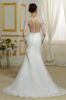 Robe de mariée Sirène Petit collier circulaire Gaze Traîne Mi-longue