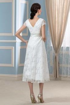 Robe de mariée Dentelle Luxueux Longueur de genou Taille haute