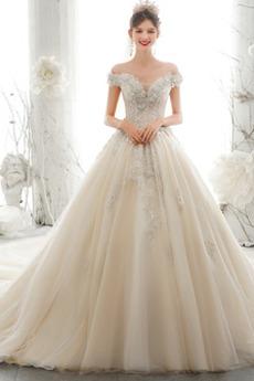 Robe de mariée Manche Courte Naturel taille Elégant Traîne Longue