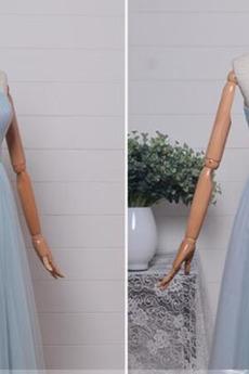 Robe de demoiselle d'honneur Mariage Naturel taille Longueur de plancher