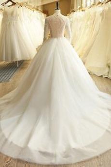 Robe de mariée Médium Printemps Bouton Traîne Courte Elégant