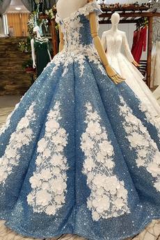 Robe de fille de fleur Paillettes Mancheron Manquant Foisonné