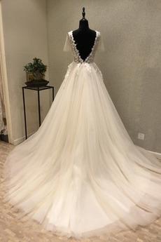 Robe de mariée Tulle Mince Décalcomanie Couvert de Dentelle Manche Courte