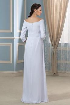 Robe de mariée Fourreau plissé Rosée épaule Automne Empire Traîne Courte