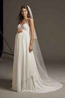 Robe de mariée Larges Bretelles Col en V Foncé Sans Manches Luxueux