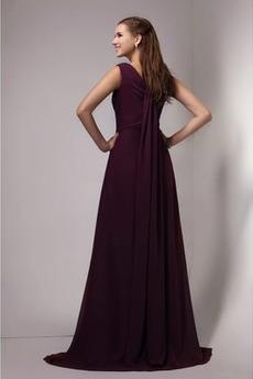 Robe de demoiselle d'honneur Longue A-ligne Fermeture à glissière