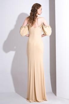 Robe de soirée Une épaule Traîne Courte Hiver Luxueux Manche Courte