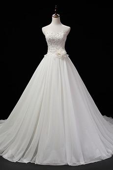 Robe de mariage Sans Manches Sans courroies Traîne Mi-longue