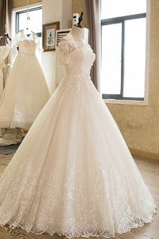 Robe de mariée Naturel taille Cérémonial Dentelle Rosée épaule