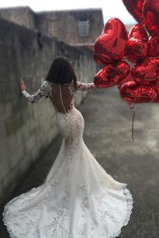 Robe de mariée Dentelle Col en V Foncé Épaule de la reine Jardin