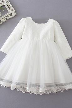 Robe de fille de fleur Tulle Dentelle Manche de T-shirt Manche Longue