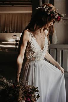 Robe de mariage Printemps Mousseline Col en V Longueur de plancher