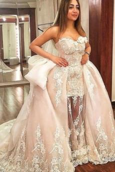 Robe de mariage Hiver Col en Cœur Chic Manteau de Cour Dos nu