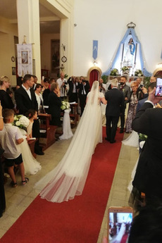 Robe de mariée Manche Courte Manche Aérienne Pomme Gaze Longueur de plancher