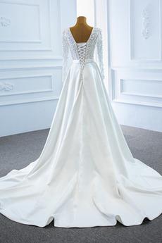 Robe de mariage Hiver A-ligne Manche Aérienne Laçage Satin Manche Longue