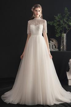 Robe de mariée Tulle Fourreau Avec Bijoux Perles Elégant De plein air