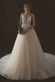 Robe de mariée Plage A-ligne Manquant Naturel taille Décolleté Dans le Dos