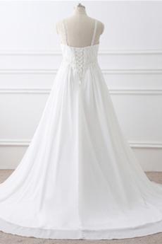 Robe de mariée Grandes Tailles Larges Bretelles Empire Chaussez