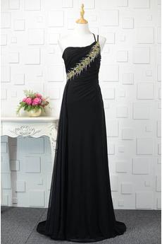 Robe de bal Noir Naturel taille Une épaule Longue Sans Manches