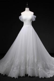 Robe de mariée Manche Courte Moderne Traîne Royal Salle Exquisite
