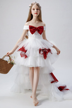 Robe de fille de fleur Manquant Asymétrique net Asymétrique
