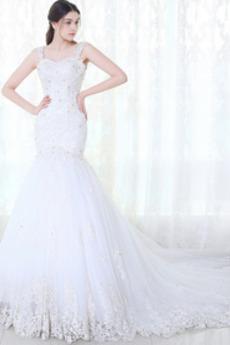 Robe de mariée Sirène Tulle Chaussez Printemps Jardin Sans Manches