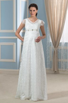Robe de mariage Fermeture à glissière Perle Poétique Orné de Nœud à Boucle