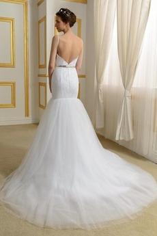 Robe de mariée Sirène Drapé Elégant Manquant Haut Bas Sans Manches