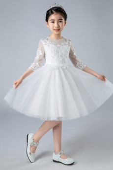 Robe de fille de fleur aligne Perle Fermeture éclair Printemps