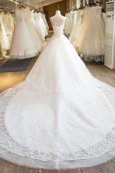 Robe de mariée Lacez vers le haut Perler Manquant Longue Salle des fêtes