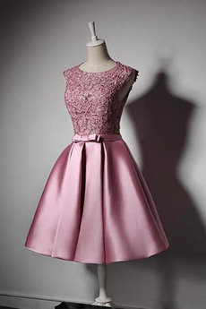 Robe de demoiselle d'honneur Vintage Satin Mariage Sans Manches