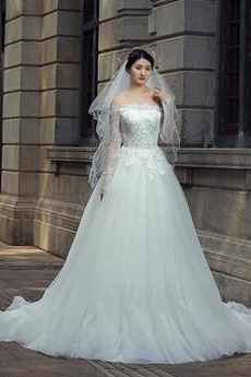 Robe de mariée Tulle Milieu aligne Appliquer Naturel taille Elégant