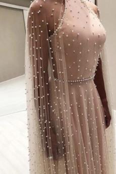 Robe de soirée Naturel taille Fourreau Avec Bijoux Longue Perles