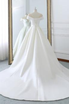 Robe de mariée Naturel taille Laçage aligne Hiver Satin Col en V Foncé