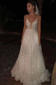 Robe de mariée A-ligne De plein air Longueur de plancher Naturel taille