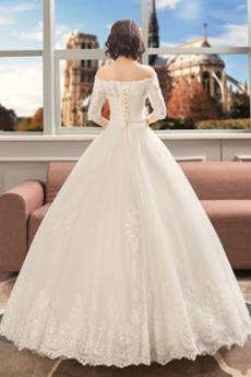 Robe de mariée noble Eglise Longueur de plancher Automne Perle