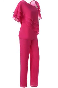 Robe mères Un Costume Col Asymétrique Mancheron Sablier Avec des pantalons