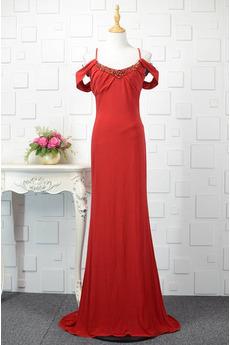 Robe de soirée Rouge Manche Courte Rosée épaule Fermeture à glissière