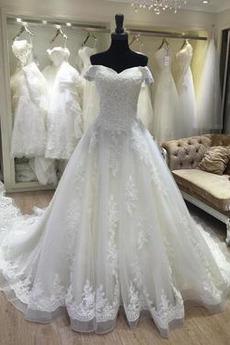 Robe de mariée Naturel taille Chapelle Pomme Chaussez Perler