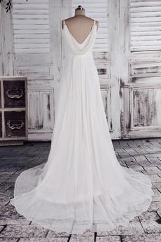 Robe de mariage crêper Sans Manches Salle des fêtes Été Milieu dos