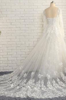 Robe de mariée Manche Longue Dos nu Longueur Cheville Décalcomanie