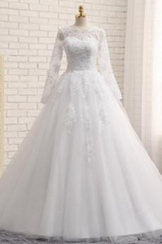 Robe de mariée Tulle Longue A-ligne Perle Eglise Été Col Bateau