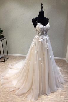 Robe de mariée Tulle De plein air Longue Sans Manches Laçage
