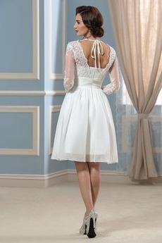 Robe de mariée Manche Longue A-ligne Longueur de genou Rivage