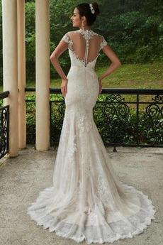 Robe de mariée Manche Courte Chic Été Satin Drapé Gaze Sirène